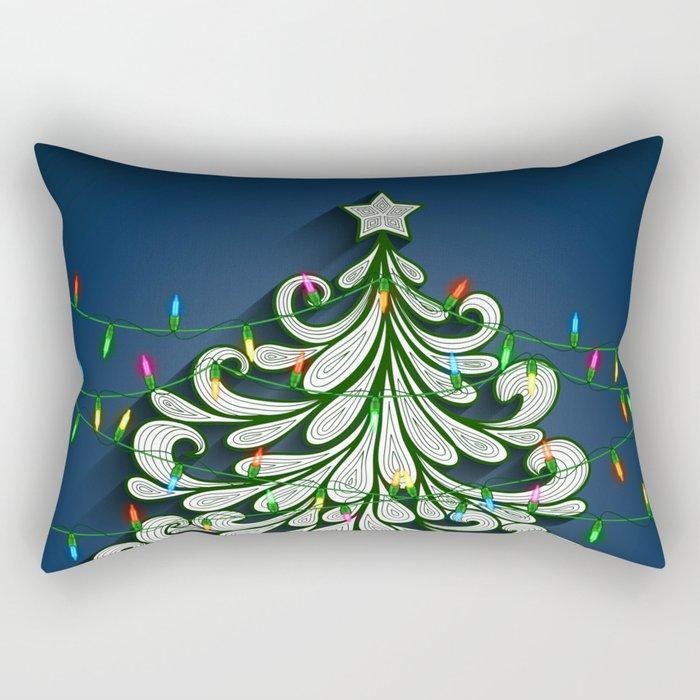 Christmas tree with colorful lights Rectangular Pillow