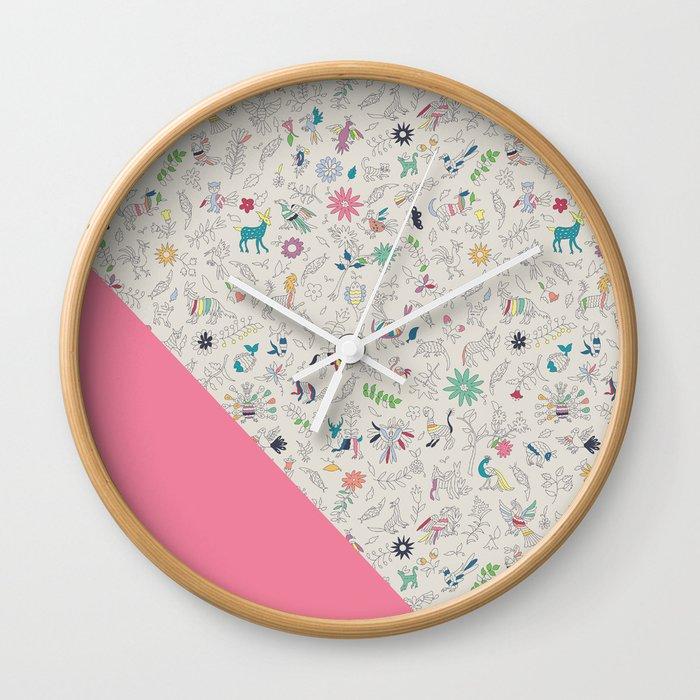 Pez Otomi pink by Ana Kane Wall Clock