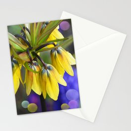 Crown imperial flower (yellow, blue, orange) Stationery Cards