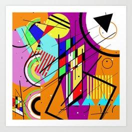 Crazy Retro 2 - Abstract, geometric, random collage Art Print