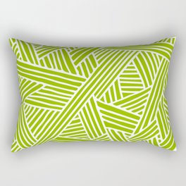 Abstract apple green & white Lines and Triangles Pattern- Mix and Match with Simplicity of Life Rectangular Pillow
