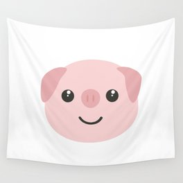 Cute kawaii Pig head Wall Tapestry