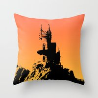 castle in the sky Throw Pillows featuring Castle by Julia Badeeva