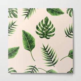 Palm Leaves,Pink Background Metal Print
