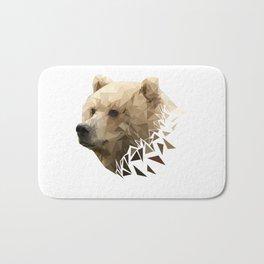 Low Poly Bear--White Bath Mat