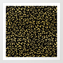 Animal Print, Leopard Spots, Glitter - Gold Black Art Print