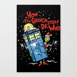 How The Grinch Stole Dr Who (on Dark) Canvas Print