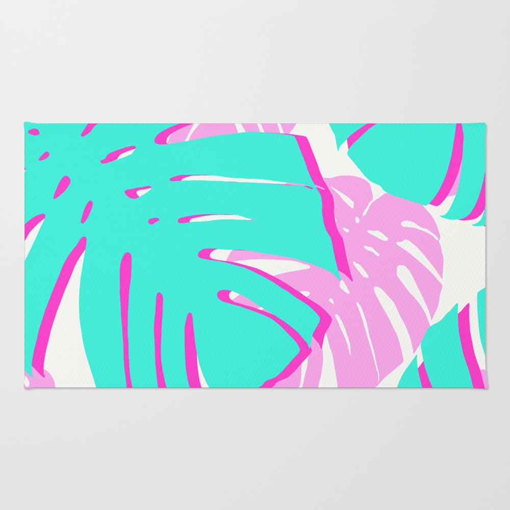 Vibrant Tropical Leaves Rug by Beautifularts RUG8956716