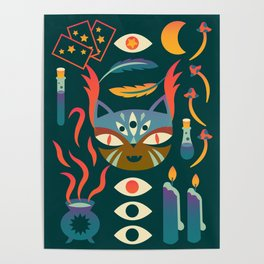 Magic Cat Art Poster
