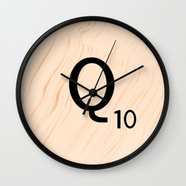 Scrabble Letter Q - Large Scrabble Tiles Wall Clock