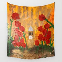 150 Years of CU - An Alumni Anniversary Tribute with Red Tulip Flowers Wall Tapestry
