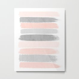 Grey and millennial pink stripes painted minimalist brushstrokes canvas art Metal Print