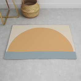 Minimal Retro Sunset / Sunrise - Ocean Blue Rug