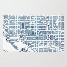 Washington DC Blueprint watercolor map Rug