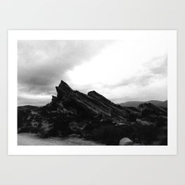 Foggy Rocks Art Print