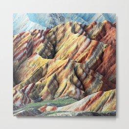 Rainbow mountain abstract artistic colorful mountain Metal Print