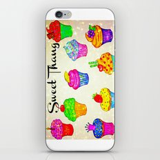 SWEET THANG - Cupcakes Sweet Sugary Goodness, Yummy Treat Romantic Colorful Bakery Illustration iPhone & iPod Skin