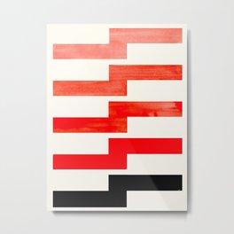 Mid-century Modern Minimalist Geometric Watercolor Gouache Lightning Bolt Metal Print