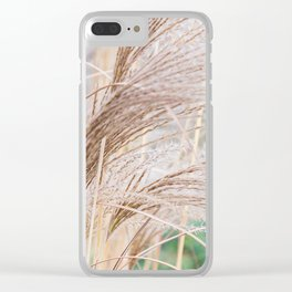 Blurred natural texture dry reed. Clear iPhone Case
