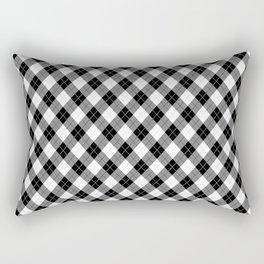 Argyll Diamond Weave Plaid Tartan in Black and White Pattern Rectangular Pillow