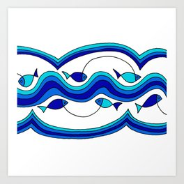 Fish and Waves Colored - Black Lines Art Print