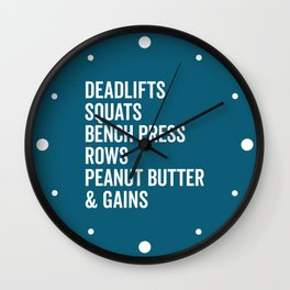 Peanut Butter & Gains Gym Quote Wall Clock