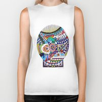 john snow Biker Tanks featuring Snow Globe by JOHN RUSSELL ABSTRACTS