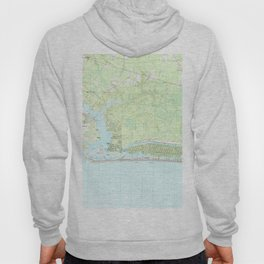 Oak Island North Carolina Map (1990) Hoody