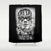 frankenstein Shower Curtains featuring Frankenstein by Jared Andolsek