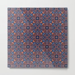 Bright Blue and Orange Beadwork Inspired Pattern Metal Print