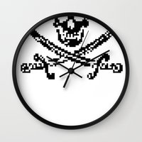 8bit Wall Clocks featuring 8bit piracy  by cadaver138