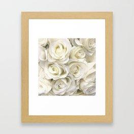 Ivory White Roses Framed Art Print