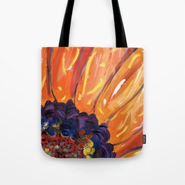 Sun Fire Sunflower Tote Bag