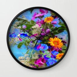 BLUE FLOWERS QUEEN ANN'S LACE BLUE STILL LIFE Wall Clock