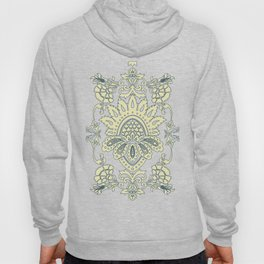 damask in white and blue vintage Hoody