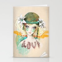airplanes Stationery Cards featuring War girl by Ariana Perez