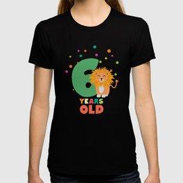 Six Years sixth Birthday Party Lion T-Shirt Dhpbx T-shirt