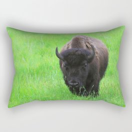 Bison in a Green Field Rectangular Pillow