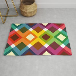 Geometric Pattern 19 (coloful diamonds) Rug