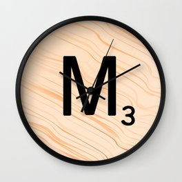 Scrabble Letter M - Large Scrabble Tiles Wall Clock