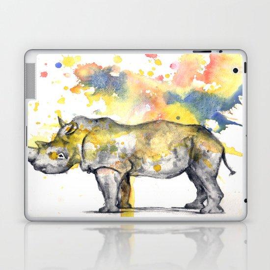 Rhino in a Splash of Color Laptop & iPad Skin