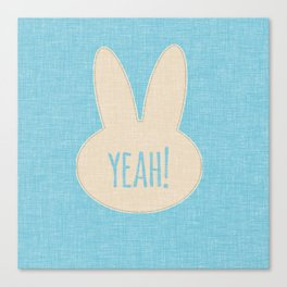 Yeah Rabbit Blue Canvas Print