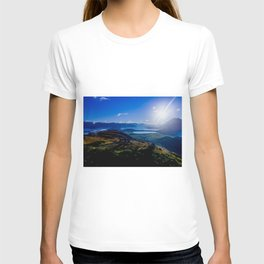 lake wanaka covered in blue colors new zealand beauties and mountains at sunrise T-shirt