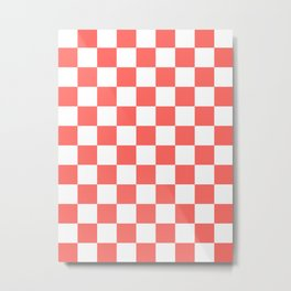 Checkered - White and Pastel Red Metal Print