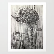 Helmet of Resolution - Black and white lithograph Art Print