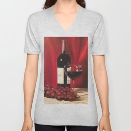 Red Wine, Still Life Unisex V-Neck