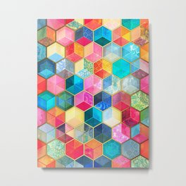 Crystal Bohemian Honeycomb Cubes - colorful hexagon pattern Metal Print
