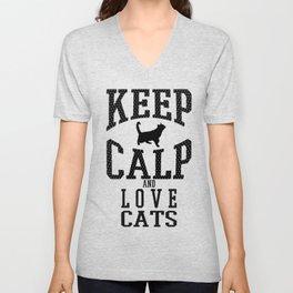 keep calp - Funny Cat Saying Unisex V-Neck