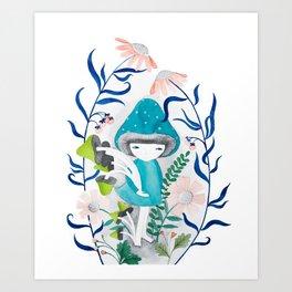 blue mushroom with flowers watercolor illustration Art Print