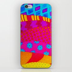 THE HIPSTER - Cool Colorful Vibrant Abstract Mixed Media Trendy Fabric Patterns Illustration iPhone & iPod Skin